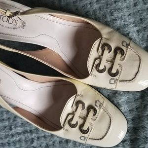 Tod's Ivory Patent Leather Slingbacks, 7.5